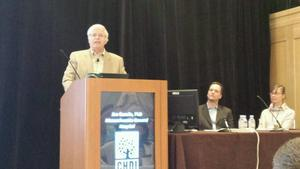 Jim Gusella addressed the conference, presenting exciting data suggesting a gene variation that modifies the onset of HD