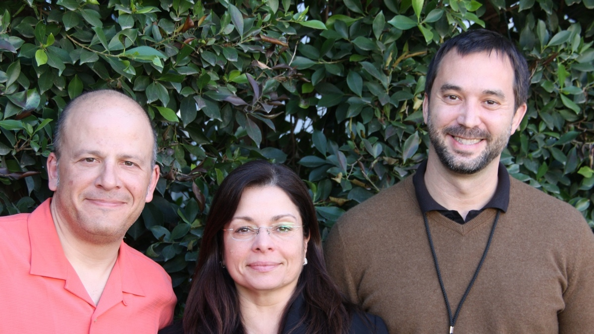 CHDI's top scientists: (left to right) Chief Scientific Officer Robert Pacifici, Vice President (Chemistry) Celia Dominguez and Vice President (Biology) Ignacio Muñoz-Sanjuan