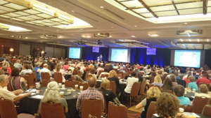 The 2016 convention was the second biggest on record, with nearly a thousand delegates, shown here listening to CHDI Foundation's Robert Pacifici