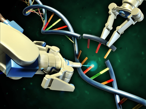 Genome editing uses protein machines to cut DNA in precise places. Using it to edit genes in brain cells is complicated and risky though. And it doesn't actually use robot arms.