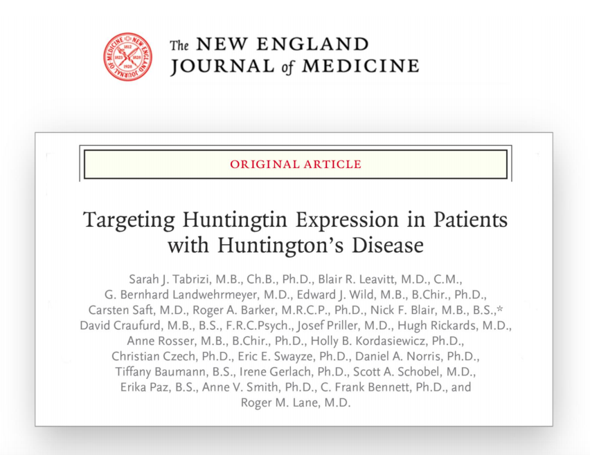 This paper, published today, describes the results of a safety study with a Huntingtin Lowering ASO